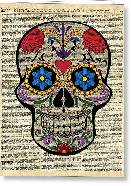 Happy Skull,sugar Skull,dia De Los Muertos,halloween Artwork Greeting Card by Jacob Kuch