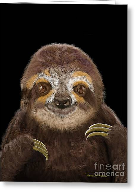 Greeting Card featuring the mixed media Happy Three Toe Sloth by Thomas J Herring