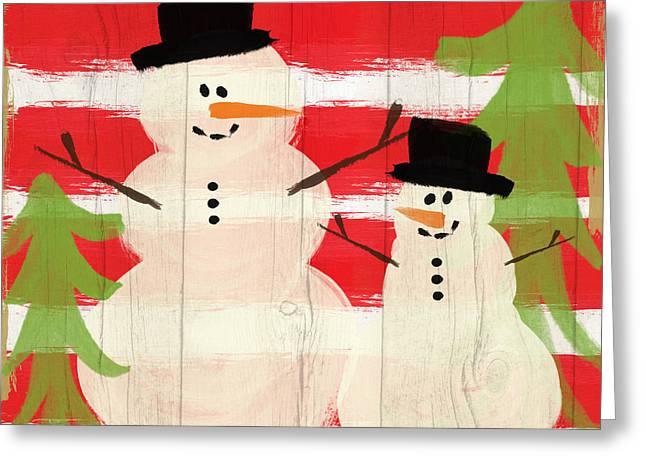 Happy Snowmen- Art By Linda Woods Greeting Card by Linda Woods