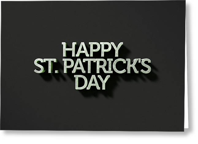 happy st patricks day Text On Black Greeting Card by Allan Swart