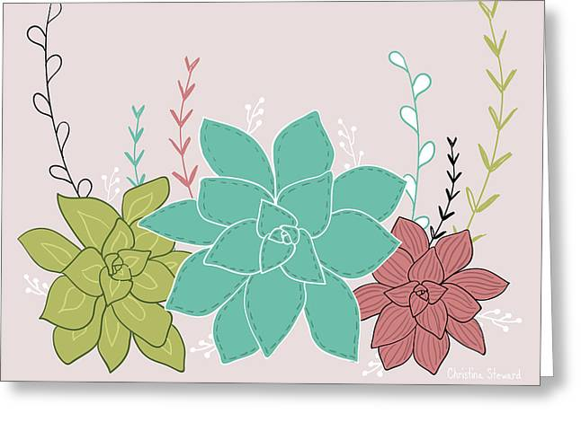 Happy Succulents Greeting Card by Christina Steward