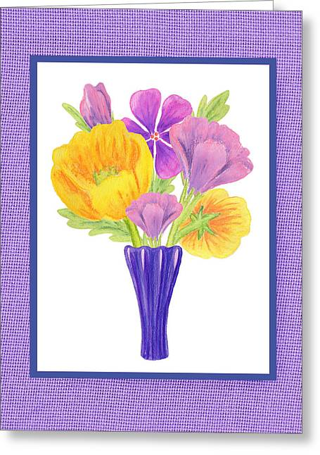 Happy Summer Bouquet Sweet And Purple Greeting Card by Irina Sztukowski