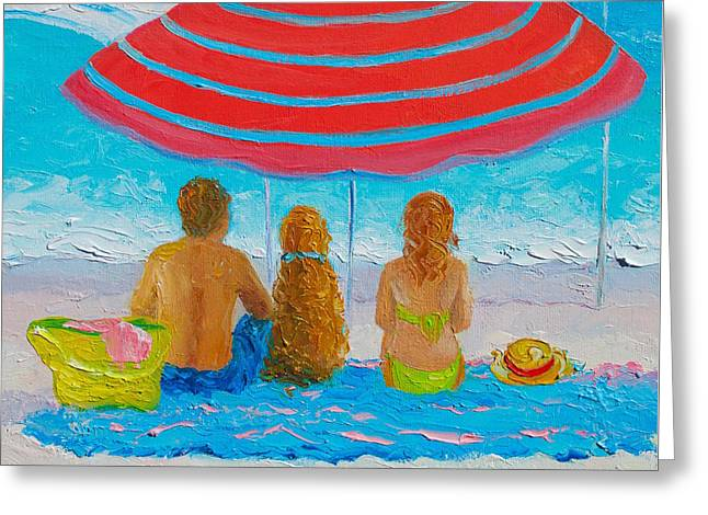 Happy Summer Days - Beach Painting Greeting Card by Jan Matson
