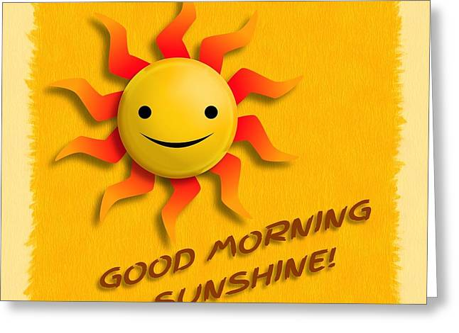 Happy Sun Face Greeting Card by John Wills
