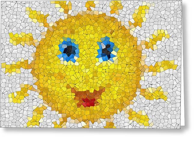 Happy Sun Glass Mosaic Greeting Card