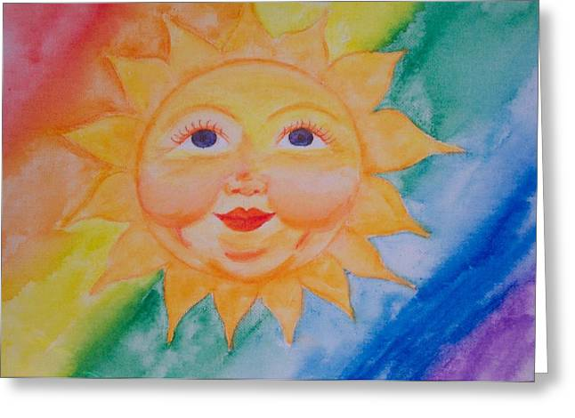 Happy Sun Greeting Card by Jennifer Hernandez