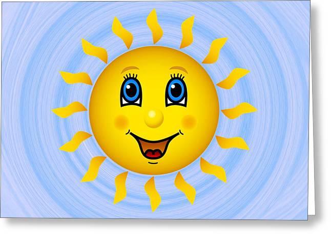 Happy Sun On Blue Sky Greeting Card