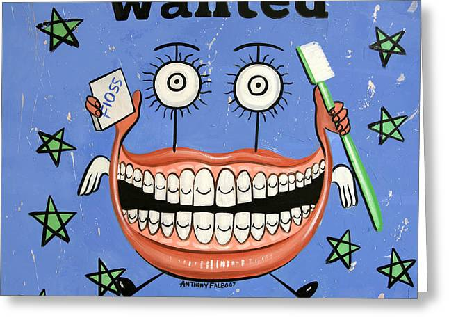 Greeting Card featuring the painting Happy Teeth by Anthony Falbo