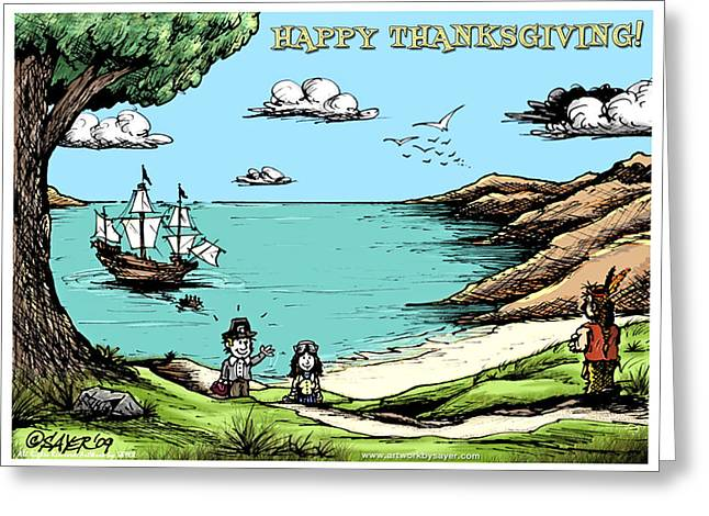 Mayflower Mixed Media Greeting Cards - Happy Thanksgiving Greeting Card by James Sayer