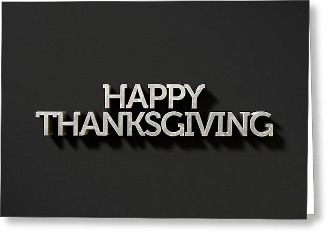 Happy Thanksgiving Text On Black Greeting Card