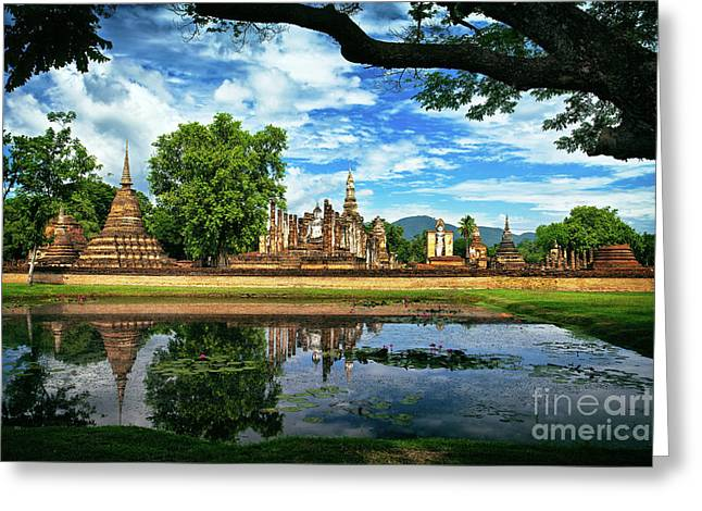 Happy Thoughts At Wat Mahathat In Sukhothai, Thailand, Southeast Asia Greeting Card by Sam Antonio Photography