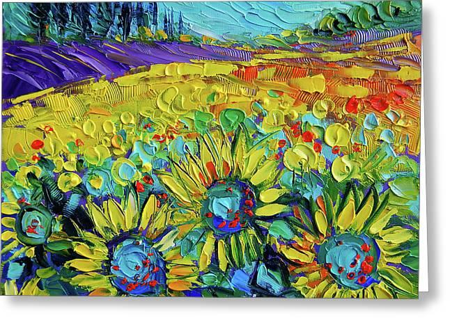 Happy Tournesols Modern Impressionist Impasto Palette Knife Oil Painting Greeting Card