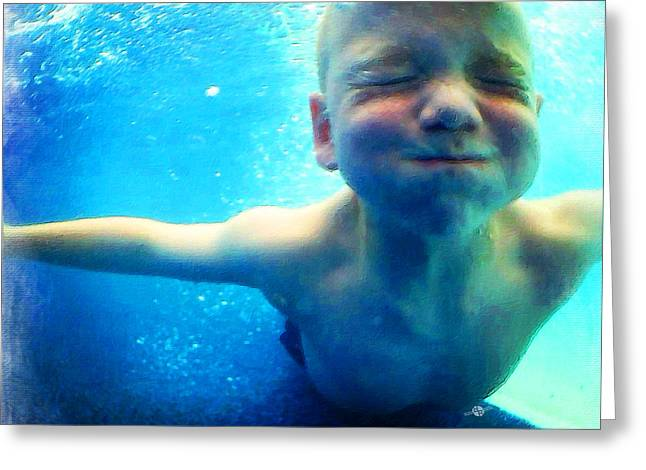 Happy Under Water Pool Boy Square Greeting Card