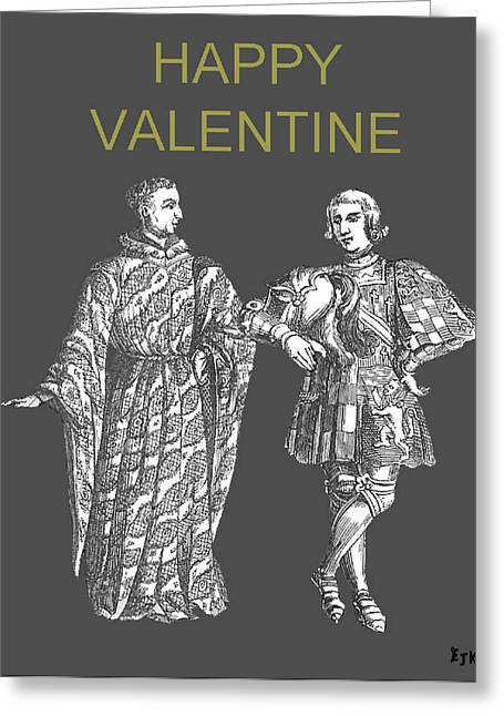 Happy Valentine Two Men Greeting Card by Eric Kempson
