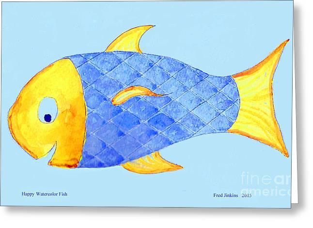 Happy Watercolor Fish Greeting Card