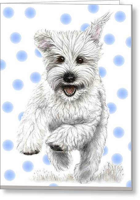 Greeting Card featuring the drawing Happy Blue Polka Dots Doggy by Heidi Kriel