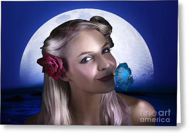 Happy Woman At Moon Light Beach Party Greeting Card