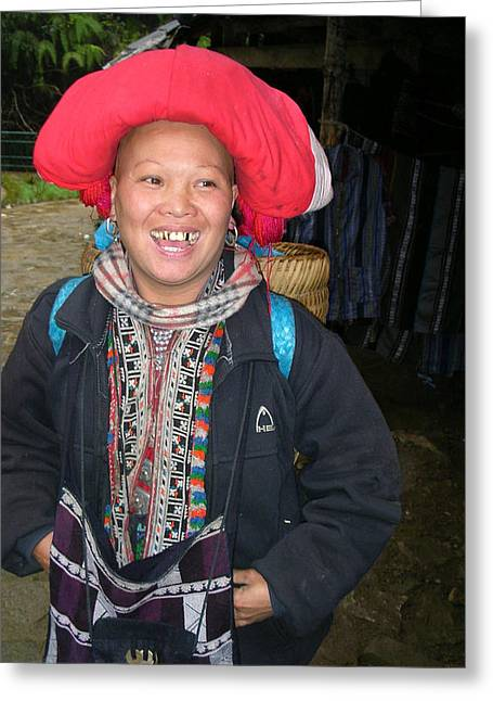 Happy Woman From Sa Pa North Vietnam Greeting Card