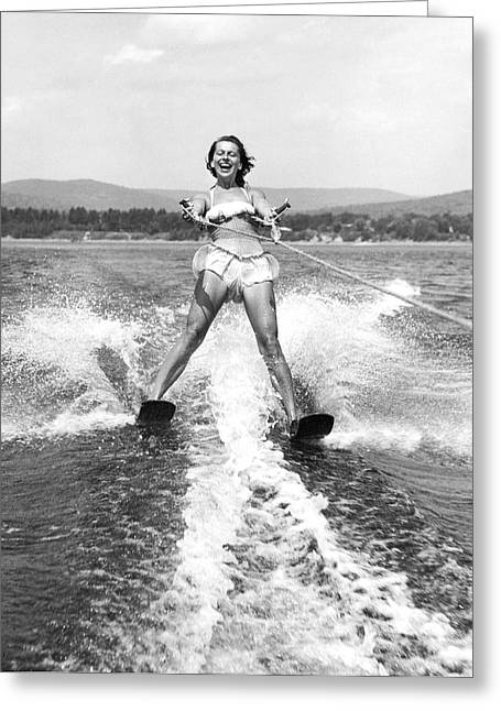 Happy Woman Water Skier Greeting Card by Underwood Archives