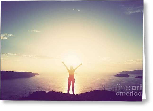 Happy Woman With Hands Up On Cliff Over Sea And Islands At Sunset Greeting Card by Michal Bednarek