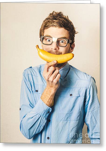 Happy Worker Smiling With Banana Greeting Card