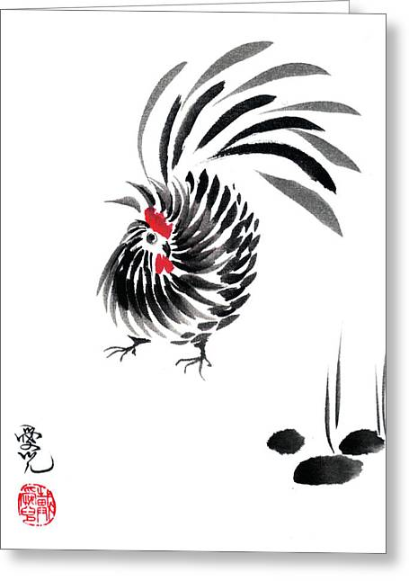 Happy Year Of The Rooster Greeting Card by Oiyee At Oystudio