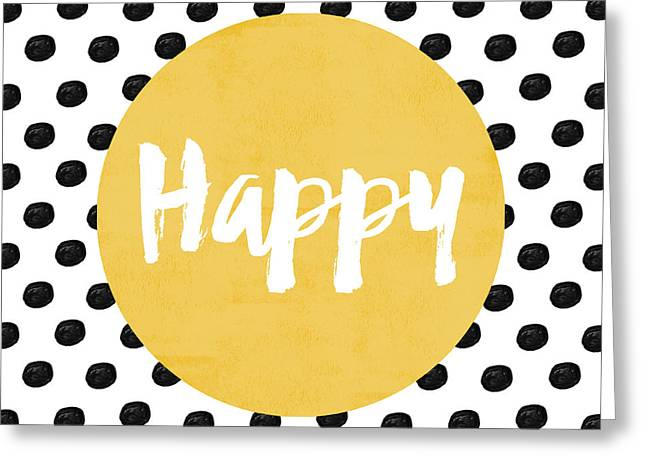 Happy Yellow And Dots Greeting Card by Allyson Johnson