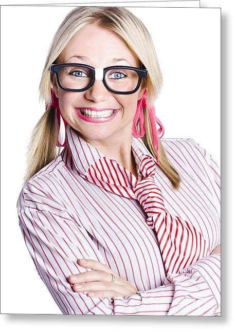 Happy Young Businesswoman Greeting Card by Jorgo Photography - Wall Art Gallery