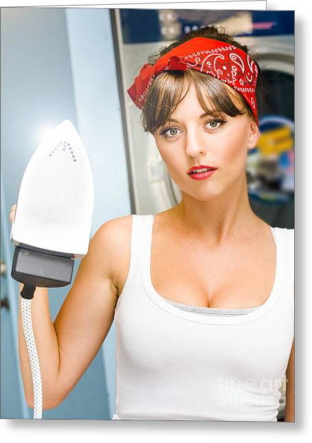 Happy Young Pretty Woman Ironing Greeting Card by Jorgo Photography - Wall Art Gallery
