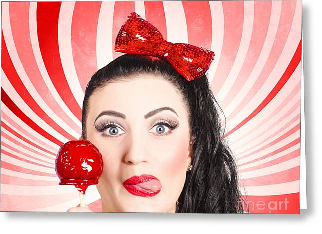 Happy Young Retro Woman With Lollipop Toffee Apple Greeting Card by Jorgo Photography - Wall Art Gallery