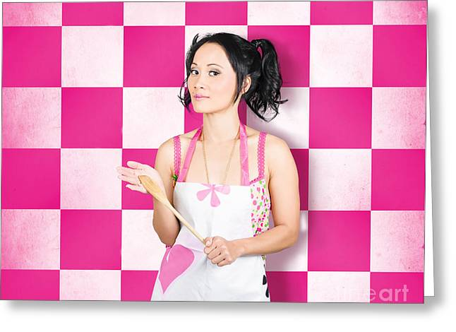 Happy Young Woman Cooking With Wooden Spoon Greeting Card by Jorgo Photography - Wall Art Gallery