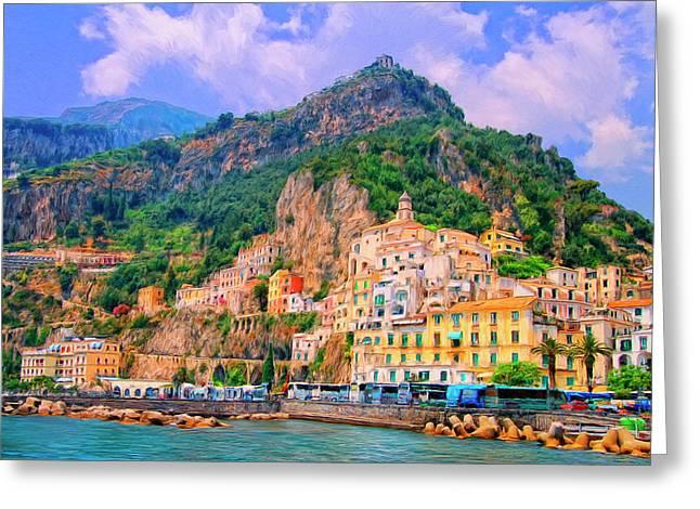 Harbor At Amalfi Greeting Card by Dominic Piperata