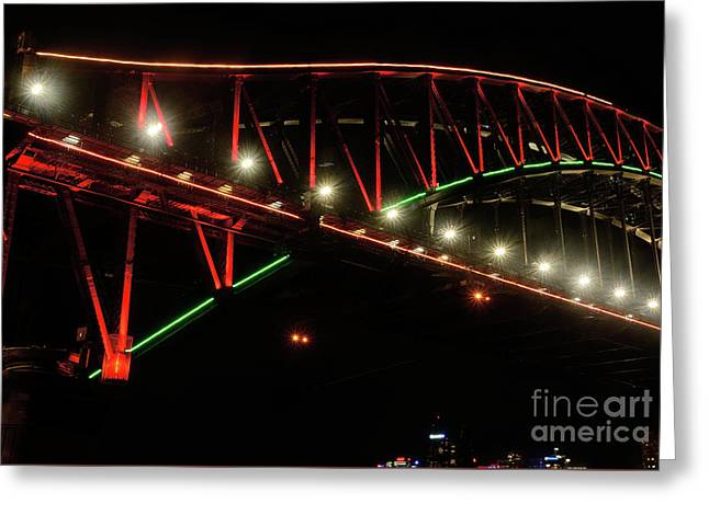 Greeting Card featuring the photograph Harbor Bridge Green And Red By Kaye Menner by Kaye Menner