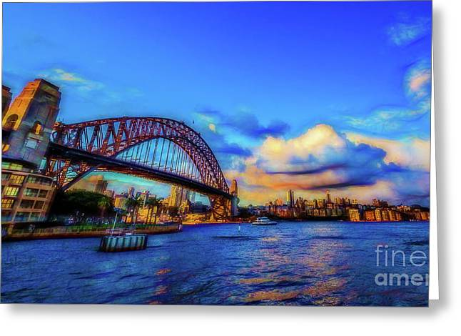 Greeting Card featuring the photograph Harbor Bridge by Perry Webster