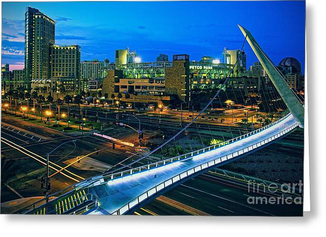 Harbor Drive Pedestrian Bridge And Petco Park At Night Greeting Card by Sam Antonio Photography