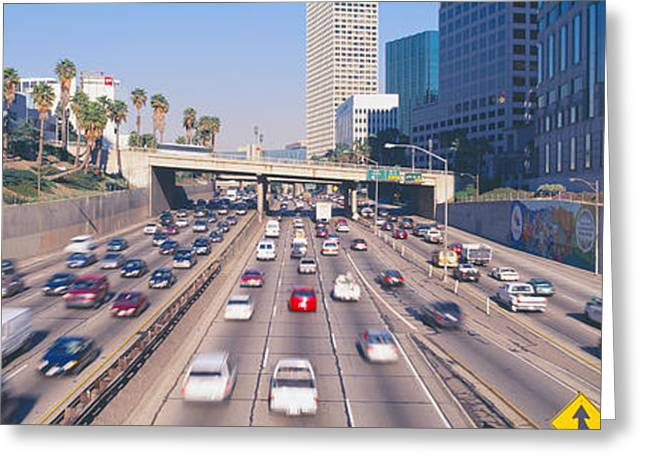 Harbor Freeway At Rush Hour, Los Greeting Card by Panoramic Images