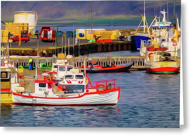 Harbor In Iceland Greeting Card