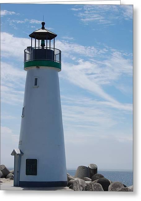 Santa Cruz Greeting Cards - harbor lighthouse Santa Cruz Greeting Card by Garnett  Jaeger