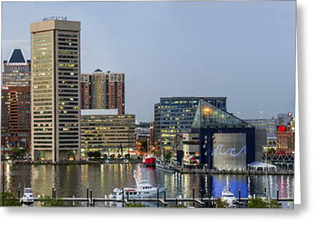 Harbor Lights - From Federal Hill - Color Pano Greeting Card by Brian Wallace