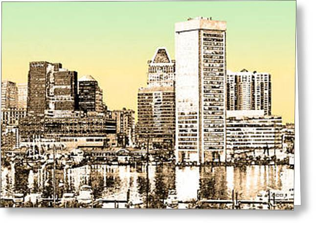 Harbor Lights From Federal Hill - Drawing Fx Greeting Card by Brian Wallace