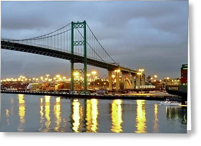 Harbor Lights In San Pedro Greeting Card by Kirsten Giving