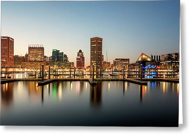 Greeting Card featuring the photograph Harbor Lights by Ryan Wyckoff