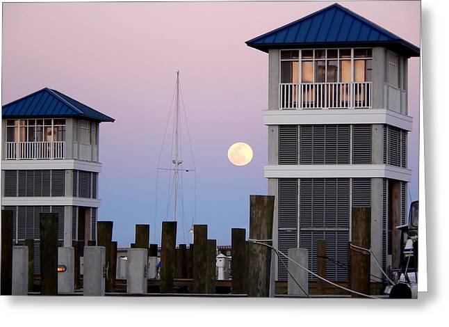 Harbor Moon Greeting Card
