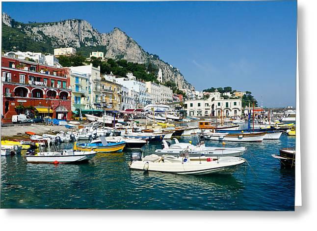 Harbor Of Isle Of Capri Greeting Card by Jon Berghoff