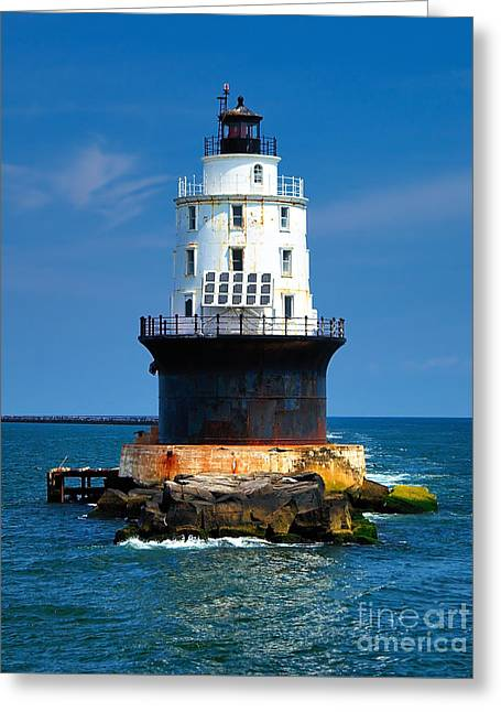 Harbor Of Refuge Lighthouse Greeting Card