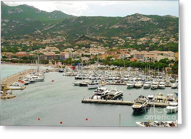 Harbor Plus Beaches At Calvi France Greeting Card by Just Eclectic