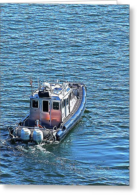 Harbor Police Patrol Boat Greeting Card by Richard Henne