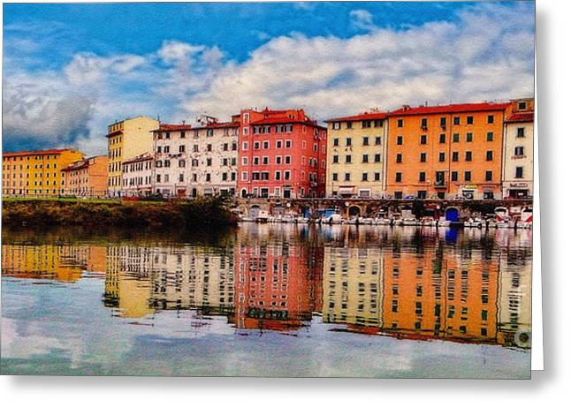 Harbor Reflections In Panoramic Greeting Card by Sue Melvin