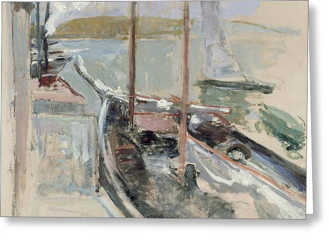 Harbor Scene Greeting Card by John Henry Twachtman