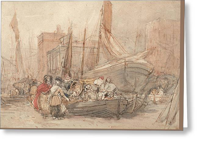 Harbor Scene, With Fishing Boats Being Unloaded Greeting Card by David Cox